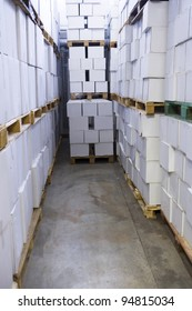 Large group of Cardboard at a warehouse