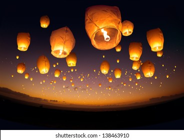A large group of chinese flying lanterns.