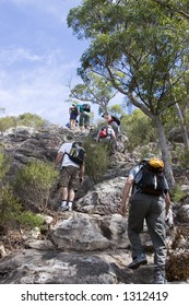 large group climbing Mt Maroon in Australia