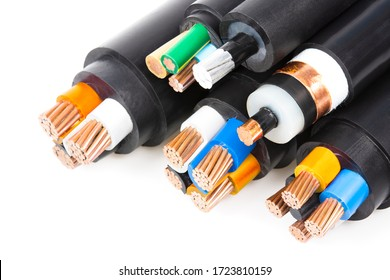 A large group of copper wires on a white background - Shutterstock ID 1723810159