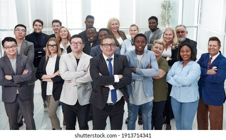 large group of diverse employees standing together.