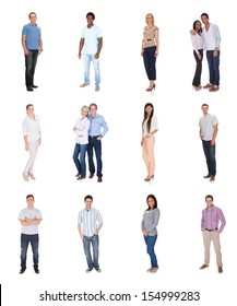 Large group of diverse people. Isolated on white