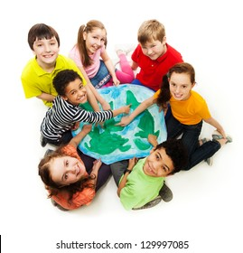 Large group of diversity looking teen kids, boys and girls pointing places where they are from with finger