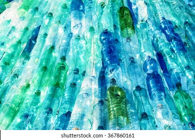large group of empty plastic bottles