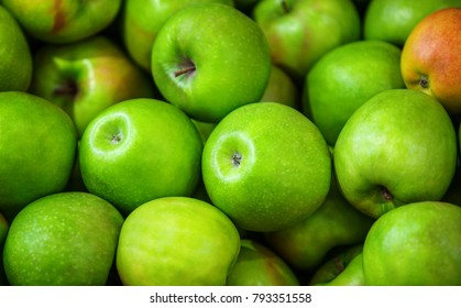 Large group of green apples background