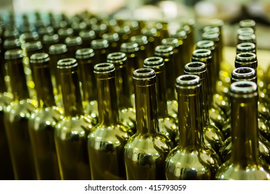 Large group of green recycled glass wine bottles at winery
