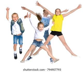 A large group of happy joyful children jumping and dancing. The concept of sport, childhood, freedom, happiness. Isolated on white background. Collage.