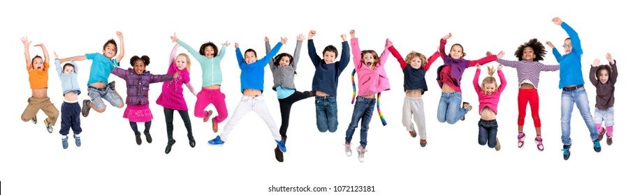 Large group of happy kids jumping isolated in white