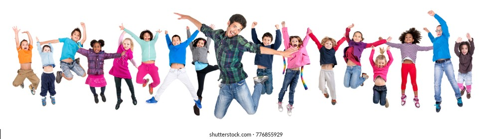 Large group of happy kids jumping with teacher isolated in white