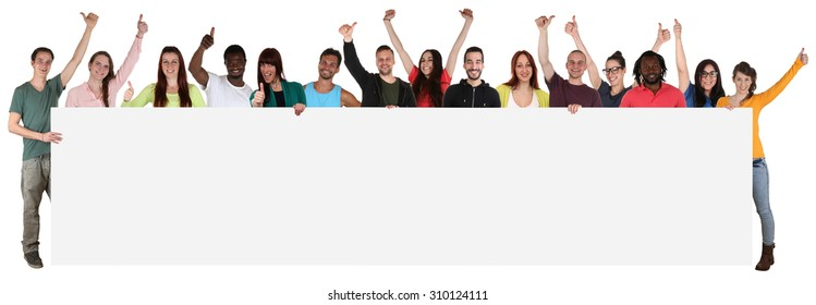 Large group of happy young multi ethnic people holding empty banner with copyspace