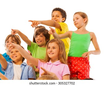 Large group of kids boys and girls pointing finger