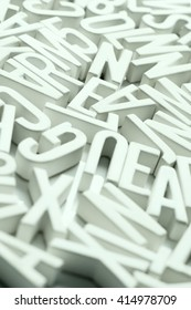 A large group of letters in a disorganized manner.