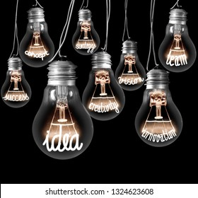 Large group of light bulbs with shining fibers in a shape of IDEA and INNOVATION concept related words isolated on black background