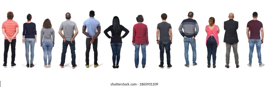 large group of man and women wearing  jeans on white background