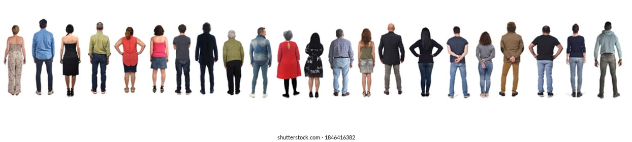 large group of men and women from back on white background