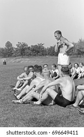 Large group of men and women exercising outdoors in summer
