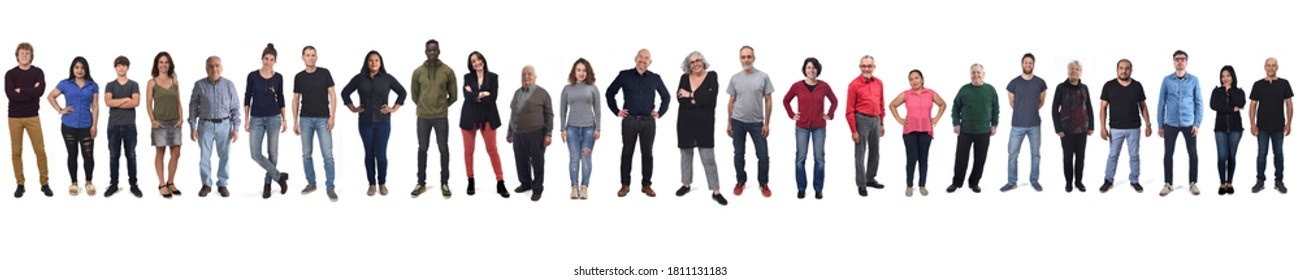 large group of mixed people on white background