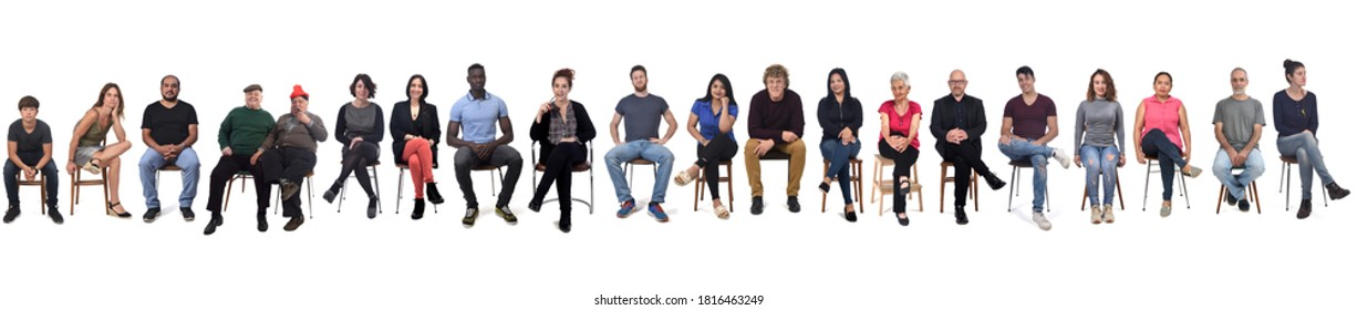 large group of mixed people siiting on chair on white