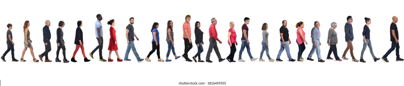 large group of mixed people walking on white background,
