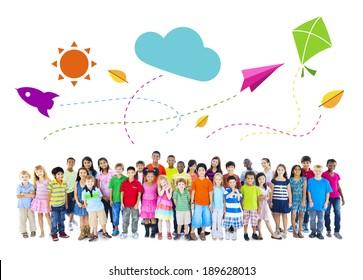 Large Group of Multiethnic Children Childhood Activities