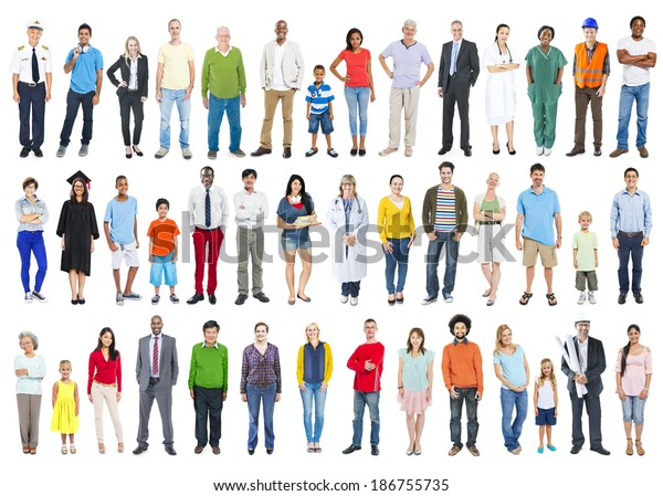 Large Group of Multiethnic Colorful Diverse People