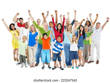 Large group of multi-ethnic diverse mixed age people celebrating with their hands raised.
