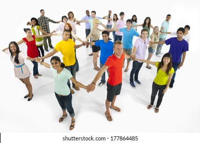 Large Group of Multi-Ethnic Young People Connecting Together