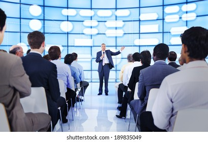 Large group of people in business presentation