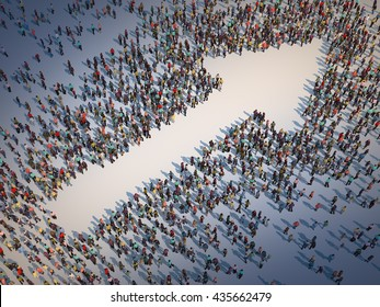 Large group of people forming a arrow symbol - 3D illustration
