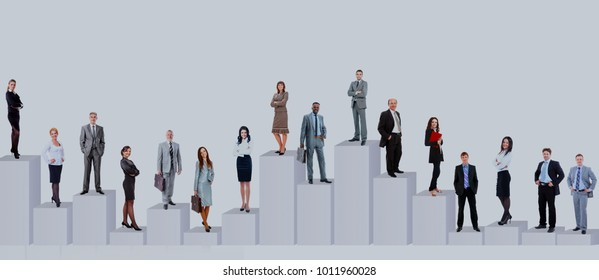 Large group of people full length isolated on white.