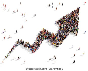 Large group of people gathered together in the shape of growing graph arrow