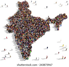 Large group of people gathered together in the shape of a India