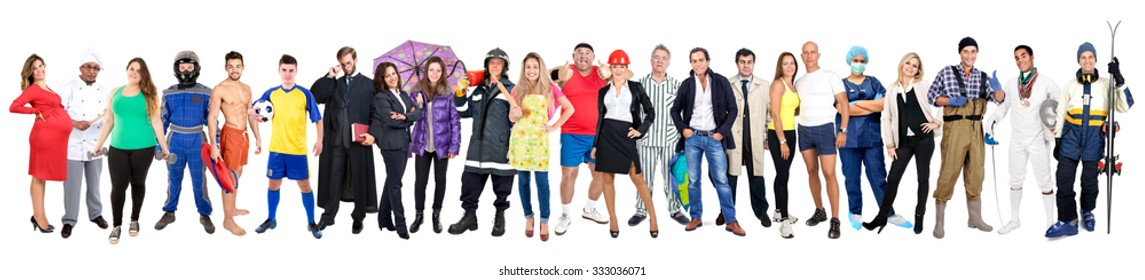Large group of people isolated in white