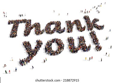"""Large group of people seen from above, gathered in the shape of """"Thank you!"""" text, on white background"""