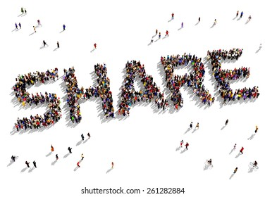 """Large group of people seen from above gathered together in the form of """"SHARE"""" text"""