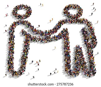 Large group of people seen from above gathered together in the shape of a friendship symbol