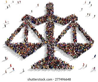 Large group of people seen from above gathered together in the shape of scales of justice icon