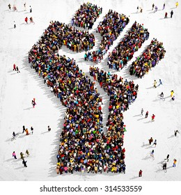 Large group of people seen from above gathered together in the shape of a fist symbol standing on a grungy background