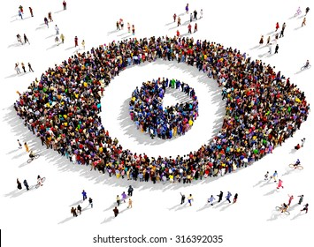 Large group of people seen from above gathered together in the shape of an eye