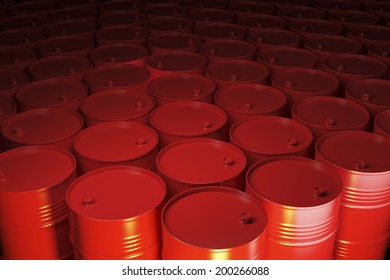 Large group of red barrels with warm light.