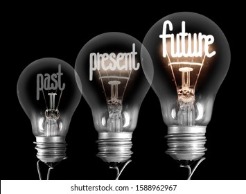 Large group of shining and dimmed light bulbs with fibers in a shape of Past, Present and Future words isolated on black background. Concept of Innovation, Development and Success
