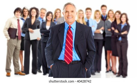 Large group of smiling business people. Over white background