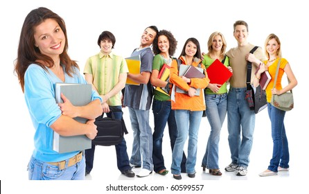 Large group of smiling  students. Isolated over white background