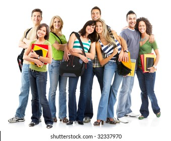 Large group of smiling  students. Over white background