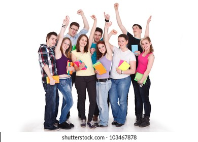 large group of smiling successes student