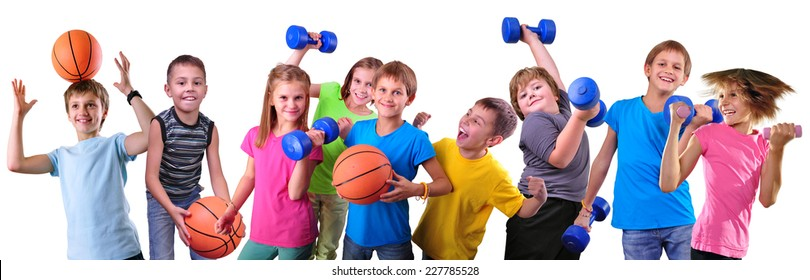 Large group of sportive children with dumbbells and ball isolated over white . Childhood, happiness, active sports lifestyle concept