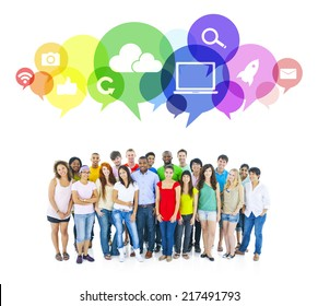 Large group of Student of Social Networking