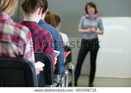 Large Group Students Sitting Conference Room Stock Photo Edit Now