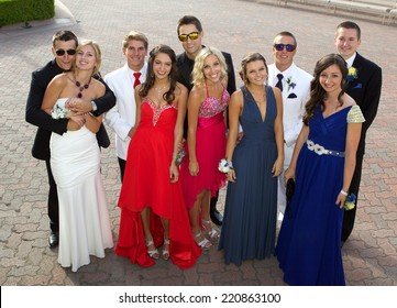 Large Group of Teenagers going to the prom