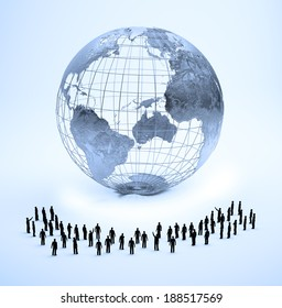 Large group of tiny people standing around a world globe